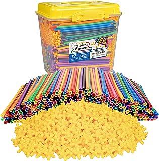 SCS Direct 1000pc Building Straws & Connectors Set for Kids - STEM Educational Construction Toy Includes Assorted Colors &...