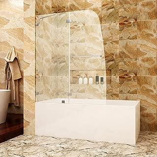 SUNNY SHOWER TD2 Bathtub Door Frameless Hinged Tub Door 5/16