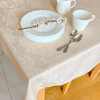 Stain Resistant Ivory Thanksgiving Tablecloth Polyester Damask Beige Christmas Table Linen, Square Beige Tablecloth, Rectangle, Round, Washes Easily, Wrinkle Free (Ivory Damask, Square 52