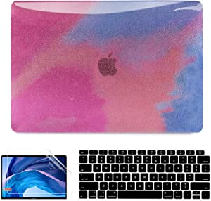 AKIT Compatible with Macbook Air 13 Inch Case 2020 2021 2019 2018 Release A2337 M1 A2179 A1932 Touch ID Retina Display, Glitter MacBook Air Case Laptop Hard Shell + 2 Keyboard Cover + Screen Protector