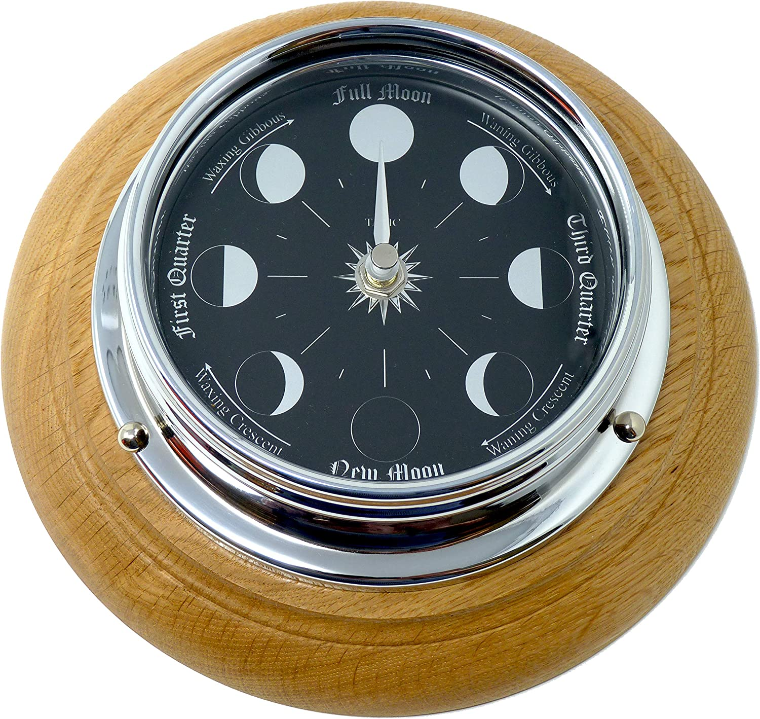 Tabic Price reduction Prestige Chrome Moon Phase Don't miss the campaign Clock Mounted On an Oak English