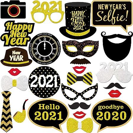 HOWAF 50pcs 2021 Nouvel an Accessoires Photobooth Dr/ôle DIY Kit Photo Booth Props d/éguisem Masquerade Chapeau Lunettes pour Enfants Adultes Nouvel an Anniversaire Mariage d/écoration
