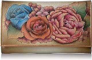 Anuschka Hand Panted Checkbook Wallet/Clutch Lush Lilac Bronze Wallet