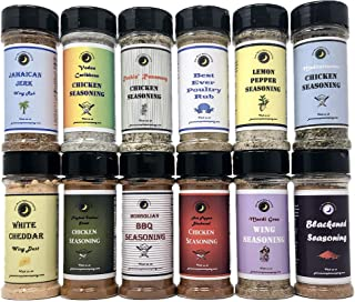 Premium | Wing and Chicken Seasoning Dry Rub Variety or Gift Pack | 12 Count | Large Shakers | Crafted in Small Batches with Farm Fresh Spices for Premium Flavor and Zest
