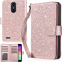 Case for LG K20 Plus, K20 V, K10 2017, DIANXUN Glitter PU Leather Flip Cover Wallet Case Credit Card Slots Cash Holder Protective Case Compatible for LG K20 Plus, LG K20 V, LG LV5, Rose Gold