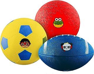 Franklin Sports Ryan's World Mini Sports Balls 3 Pack - Mini Football, Soccer Ball, and Playground Ball - Mini Kids Sports...