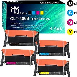 4-Pack (B+C+M+Y) CLT-406S 406S Toner Cartridge CLT-K406S CLT-C406S CLT-M406S CLT-Y406S Compatible for Samsung CLX-3305FW 3306FW 3307FW SL-C460FW C462FW C463FW CLP-365W 367W Printer, by Much&More