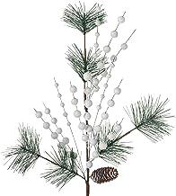 WeRChristmas Artificial Pinecone Berries Pick Christmas Tree Decoration, White, 66 cm