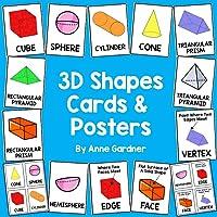 3D Shapes Cards! 3D Shapes Posters! 3D Shape Flashcards!