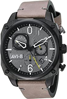 Men's AV-4052 Hawker Hunter Analog Display Japanese Quartz Watch with Leather Band