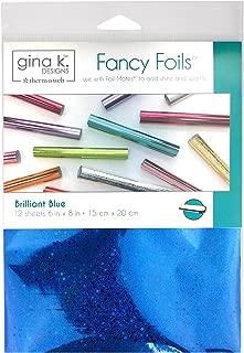 Gina K. Designs Fancy Foil 6 inch x 8 inch Sheets, 12 Sheets per Pack (Brilliant Blue)