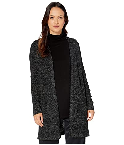 Eileen Fisher Petite Merino Sparkle Straight Long Cardigan (Black) Women