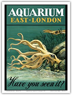 East-London Aquarium - South Africa - Have you seen it? - Octopus - Vintage World Travel Poster by H. Haüsaman c.1939 - Master Art Print - 9in x 12in