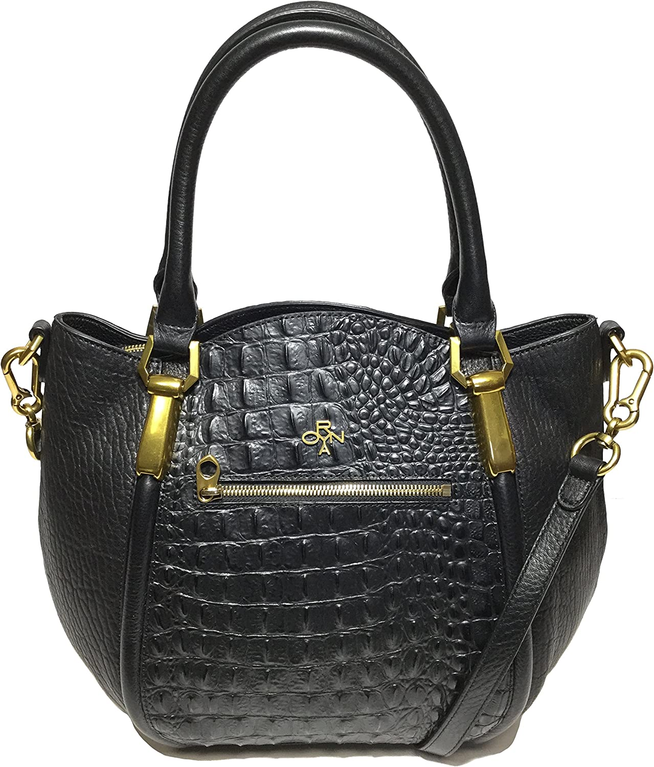 OrYANY Woman's Leather Croco Satchel, Black