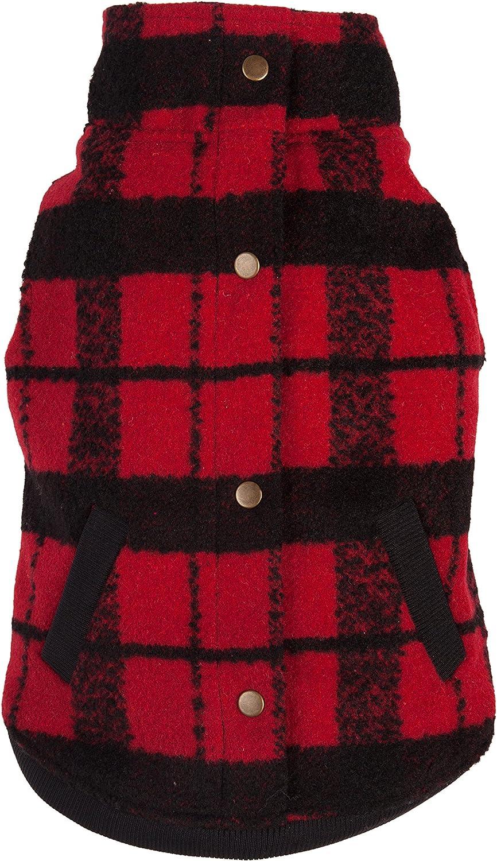 Fab Dog Plaid Boucle Dog Jacket, Red Black, 16