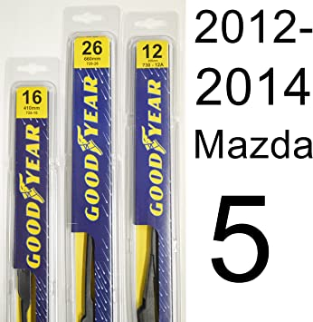 """Mazda 5 2005-2018 allemand Qualité BALAIS D/'ESSUIE-GLACE 26/"""" 16/"""" 12/"""" avant arrière de remplacement"""