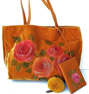74b5d45b2a Long Handles Gold Velvet Large Floral Overnight Tote Bag for Women with  Hand Painted Pink Roses