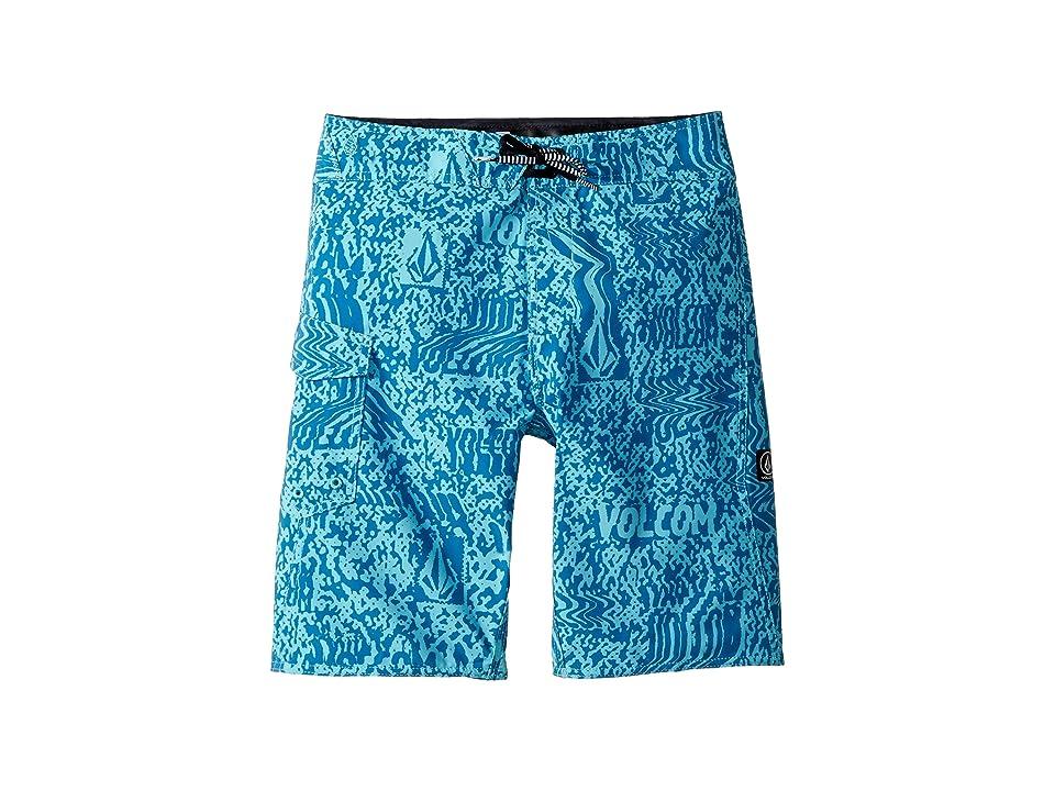 Volcom Kids Logo Plasm Mod Boardshorts (Big Kids) (Bright Turquoise) Boy