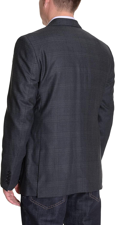 DKNY Trim Fit Charcoal Gray Plaid Two Button Wool Blazer Sportcoat