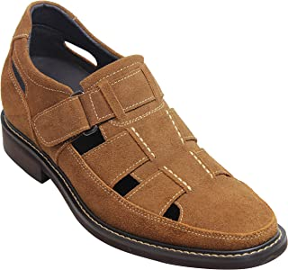 5c7a476c9 CALTO Men s Invisible Height Increasing Elevator Shoes - Brown Suede Leather  Fisherman Sandals - 3.2 Inches