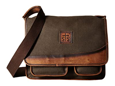 STS Ranchwear The Foreman Messenger (Dark Khaki Canvas/Leather) Messenger Bags