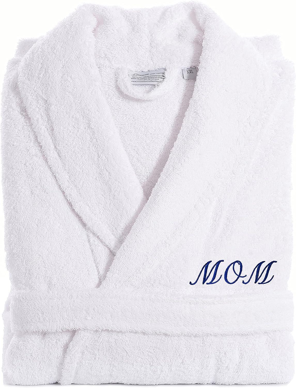 Linum Home Textiles TR00-SM-MOMN White Terry Bathrobe for MOM, Small/Medium, Navy Embroidery