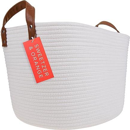 Sweetzer & Orange Large Woven Cotton Rope Storage Basket (Vegan Leather Handles) - Blanket Storage Baskets,  Laundry Basket,  Toy Storage,  Nursery Hamper - Decorative Off White Basket for Living Room