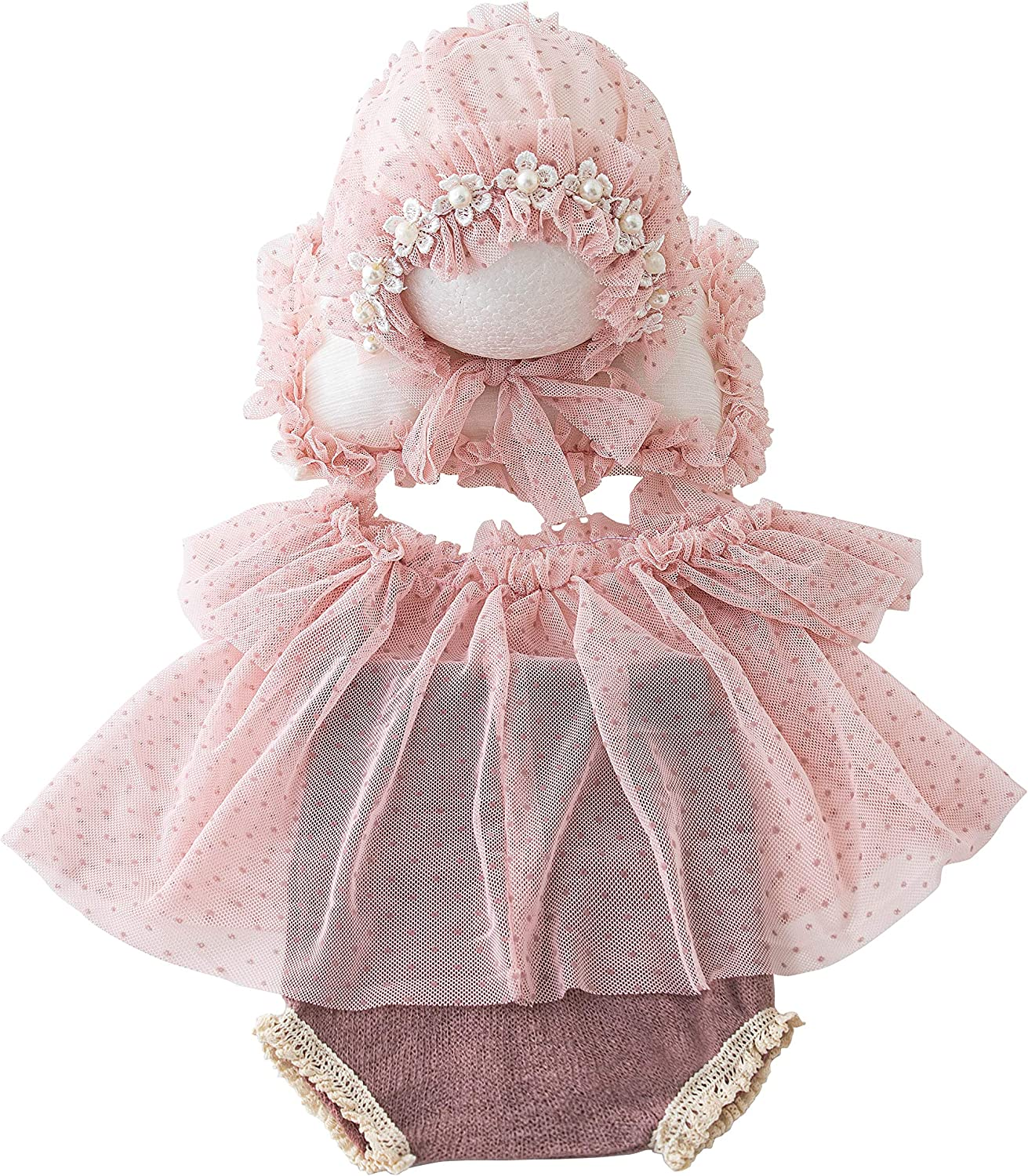 Newborn Photography Props Baby Girls Outfits,Baby Photo Props Soft Lace Headdress Romper Bodysuits Set