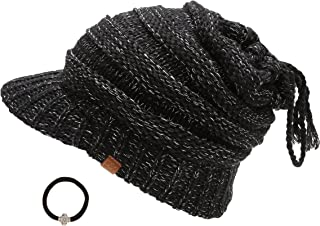 D&Y Women's Beanie Tail Cable Knit Visor Ponytail Beanie Hat with Hair Tie.