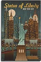 New York City, New York - Statue of Liberty - Retro Skyline (10x15 Wood Wall Sign, Wall Decor Ready to Hang)