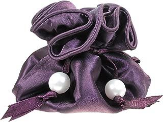 TropicaZona Satin Drawstring Jewelry Pouch, 16 Pockets, Purple