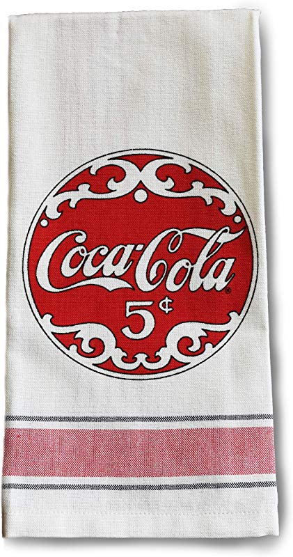 Youngs Inc Coca Cola Script Tea Towel Multi