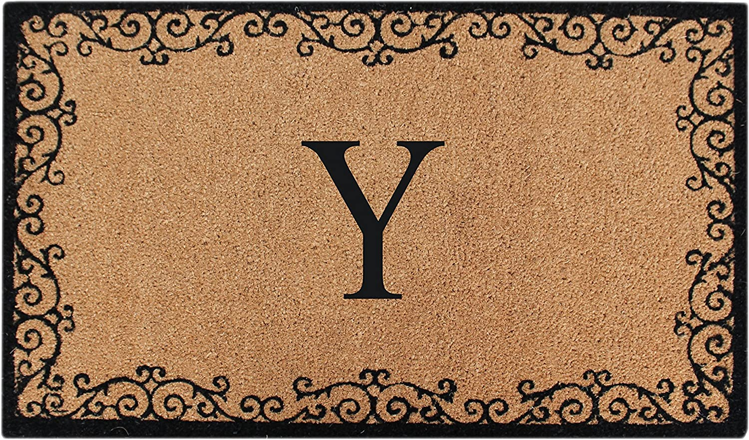 A1 HOME COLLECTIONS PT3007-YA1HC First Impression Lori Floral Non Skid Monogrammed Doormat, 24  x 39 , Beige Black, Set of 10
