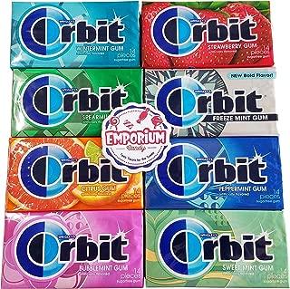 Orbit Gum 8 Pack Assortment - Wintermint Citrus Strawberry Spearmint Mint Bubblemint Peppermint Sweemint with Refrigerator Magnet - 8 Total Packs of Gum