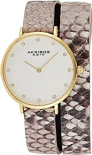 Akribos XXIV Women's Swarovski Crystal Watch - 12 Genuine Crystal Hour Markers On Snakeskin Leather Double Strap - AK923
