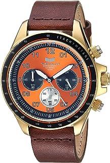 Vestal 'ZR2' acero inoxidable y piel Casual reloj de cuarzo, color: café (modelo: zr243l22.BR)