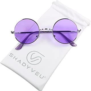 4de6467942 ShadyVEU - Retro Colorful Tint Lennon Style Round Groovy Hippie Wire  Sunglasses
