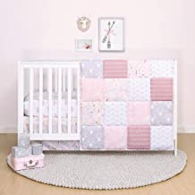 The Peanutshell Pink Floral Crib Bedding Set for Baby Girls - Quilt, Fitted Sheet, Dust Ruffle Included