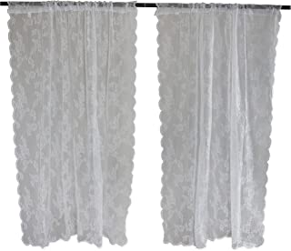 DII Sheer Lace Decorative Curtain Panels for Bedroom, Living Room, Guest Room, or Formal Sitting Areas, Light & Airy to Filter Sunlight Into Room, (Set of 2, 50 x 63) White Flower Blossom