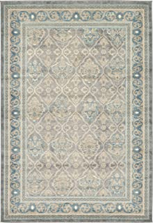 Luxury Vintage Persian Design Meshkabad Rug Gray 6' x 9' St.George Collection Area Rugs