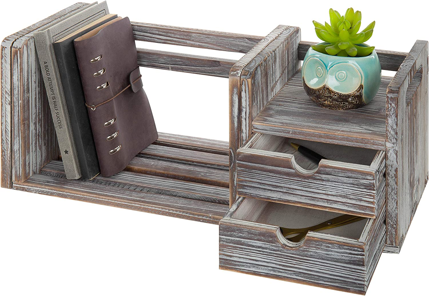 MyGift Gifts 2-Drawer Torched Wood Bookcase Mesa Mall Desktop Organiz Expandable