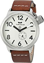 Vestal Stainless Steel Quartz Watch with Leather Calfskin Strap, Brown, 22 (Model: CNT453L05.BRWH