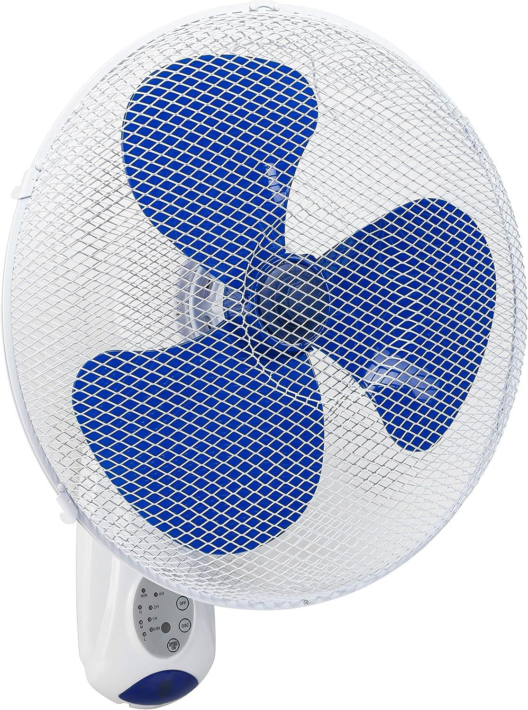 Bestron Ventilador de Pared con Mando a Distancia, Temporizador (hasta 7,5 horas), Altura: 50 cm, 40 cm, 45 W, Blanco