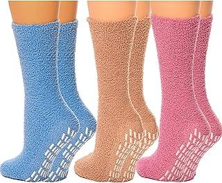 Hospital Socks Women Men Non Skid Gripper Cozy Socks DEBRA WEITZNER 6 Pairs