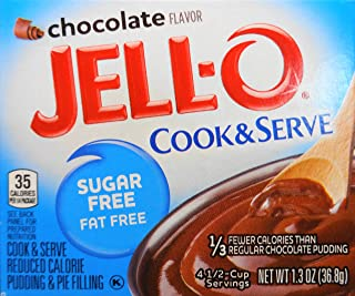 Jell-O Chocolate Pudding, Cook & Serve, Sugar Free, 1.3 Ounce Box, 3 Packs