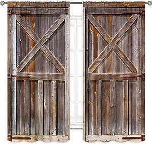 Cinbloo Rustic Barn Door Curtains Wood Rod Pocket 2 Panels Brown Garage Vintage Bedroom Decor Men Farmhouse Window Drapes Western Country Retro Printed Living Room Window Treatment 42 (W) x 63(L) Inch