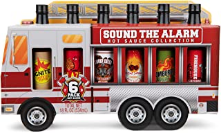 Thoughtfully Gifts, Sound the Alarm Fire Truck Hot Sauce Gift Set, Flavors Include Sweet & Spicy, Garlic Hot Sauce, Smoky ...