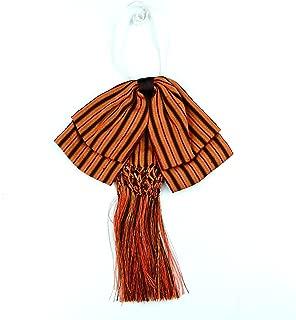 Bow tie charro Mexican party costum Elastic Band estripes Color Orange and Brown Fiesta Mexicana
