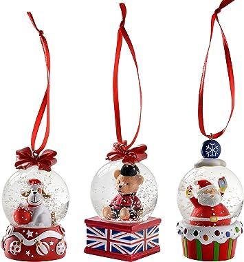 WeRChristmas Décoration 45mm pour Chien Père Noël Ours Mini Boule de Neige Décoration de Noël, Lot de 3, Multicolore