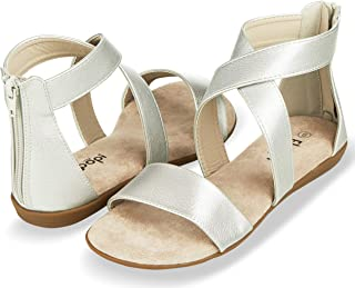 Floopi Sandals for Women | Open Toe, Gladiator/Criss Cross-Design Summer Sandals W/Zip Up Back | Comfy, Faux Leather Ankle Straps W/Flat Sole, Memory Foam Insole